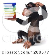 Clipart Of A 3d Bespecacled Chimpanzee Sitting Scratching His Head Holding And Looking At A Stack Of Books Royalty Free Illustration