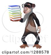 Clipart Of A 3d Bespectacled Chimpanzee Holding And Looking At A Stack Of Books Royalty Free Illustration
