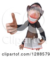 Clipart Of A 3d Happy Chimpanzee Holding Up A Thumb And A Book Royalty Free Illustration