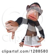 Clipart Of A 3d Unhappy Chimpanzee Holding Up A Thumb Down And A Book Royalty Free Illustration