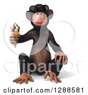 Clipart Of A 3d Chimpanzee Monkey Wearing Sunglasses Sitting And Holding An Ice Cream Cone Royalty Free Illustration