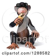 Clipart Of A 3d Chimpanzee Monkey Wearing Sunglasses Sitting And Eating An Ice Cream Cone Royalty Free Illustration