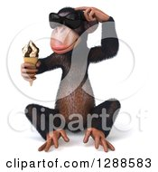 Clipart Of A 3d Thinking Chimpanzee Monkey Wearing Sunglasses Sitting And Holding An Ice Cream Cone Royalty Free Illustration