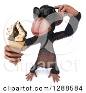 Clipart Of A 3d Thinking Chimpanzee Monkey Wearing Sunglasses And Holding Up An Ice Cream Cone Royalty Free Illustration