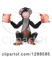 Clipart Of A 3d Bespectacled Chimpanzee Sitting And Holding Two Piggy Banks Royalty Free Illustration