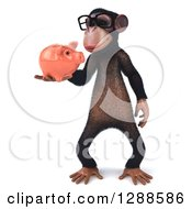 Clipart Of A 3d Bespectacled Chimpanzee Holding And Looking At A Piggy Bank Royalty Free Illustration