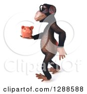 Clipart Of A 3d Bespectacled Chimpanzee Walking To The Left And Holding A Piggy Bank Royalty Free Illustration