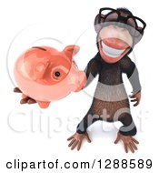 Clipart Of A 3d Bespectacled Chimpanzee Holding Up A Piggy Bank Royalty Free Illustration