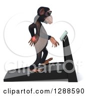 Clipart Of A 3d Chimpanzee Facing Right And Walking On A Treadmill Royalty Free Illustration