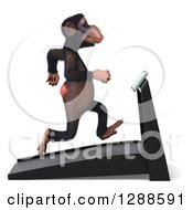 Clipart Of A 3d Chimpanzee Facing Right And Running On A Treadmill Royalty Free Illustration