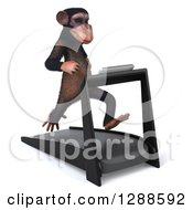 Clipart Of A 3d Chimpanzee Facing Slightly Right And Running On A Treadmill Royalty Free Illustration