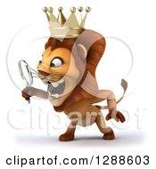 Clipart Of A 3d Lion King Facing Left And Looking Through A Magnifying Glass Royalty Free Illustration