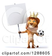 Clipart Of A 3d Lion King Holding A Soccer Ball And A Blank Sign Royalty Free Illustration