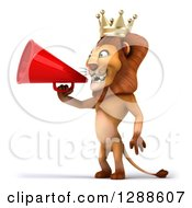Clipart Of A 3d Lion King Facing Left And Announcing With A Megaphone Royalty Free Illustration
