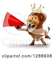 Clipart Of A 3d Lion King Facing Left And Roaring Through A Megaphone Royalty Free Illustration