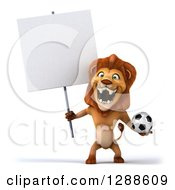 Clipart Of A 3d Male Lion Roaring Holding A Soccer Ball And A Blank Sign Royalty Free Illustration