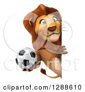 Clipart Of A 3d Male Lion Holding A Soccer Ball Around A Sign Royalty Free Illustration