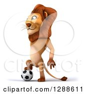 Clipart Of A 3d Male Lion Facing Left And Resting A Foot On A Soccer Ball Royalty Free Illustration