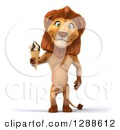 Clipart Of A 3d Male Lion Holding A Waffle Ice Cream Cone Royalty Free Illustration