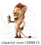 Clipart Of A 3d Male Lion Facing Left And Holding A Waffle Ice Cream Cone Royalty Free Illustration