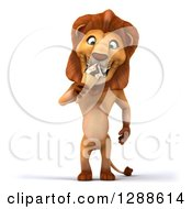 Clipart Of A 3d Male Lion Eating A Waffle Ice Cream Cone Royalty Free Illustration