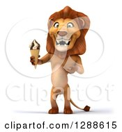 Clipart Of A 3d Male Lion Holding And Presenting A Waffle Ice Cream Cone Royalty Free Illustration