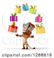 Clipart Of A 3d Male Lion Wearing Sunglasses Facing Slightly Left And Juggling Gifts Royalty Free Illustration