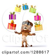 Clipart Of A 3d Male Lion Wearing Sunglasses And Juggling Gifts Royalty Free Illustration