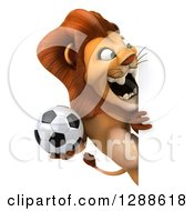 Clipart Of A 3d Male Lion Holding A Soccer Ball And Roaring Around A Sign Royalty Free Illustration
