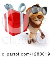 Clipart Of A 3d Male Lion Wearing Sunglasses And Holding Up A Gift Royalty Free Illustration