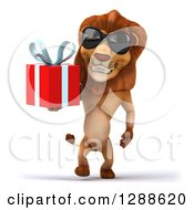 Clipart Of A 3d Male Lion Wearing Sunglasses And Walking With A Gift Royalty Free Illustration