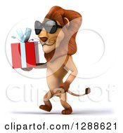 Clipart Of A 3d Male Lion Wearing Sunglasses And Walking To The Left With A Gift Royalty Free Illustration