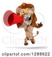 Clipart Of A 3d Male Lion Running With A Megaphone Royalty Free Illustration