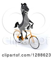 Clipart Of A 3d Happy Black Horse Riding A Bicycle To The Right Royalty Free Illustration