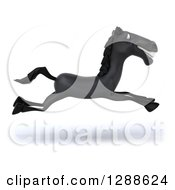 Clipart Of A 3d Black Horse Smiling And Running To The Right Royalty Free Illustration
