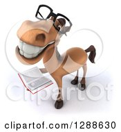 Clipart Of A 3d Bespectacled Brown Horse Smiling Upwards And Holding A Book Royalty Free Illustration