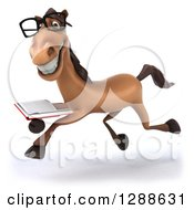 Clipart Of A 3d Bespectacled Brown Horse Running To The Left With A Book Royalty Free Illustration
