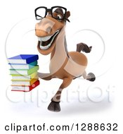 Clipart Of A 3d Bespectacled Brown Horse Running Slightly To The Left With A Stack Of Books Royalty Free Illustration