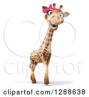 Clipart Of A 3d Female Giraffe Smiling And Walking To The Right Royalty Free Illustration by Julos