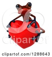 Clipart Of A 3d Red Frog Facing Slightly Left And Hugging A Love Heart Royalty Free Illustration