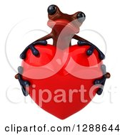 Clipart Of A 3d Red Frog Hugging A Love Heart Royalty Free Illustration
