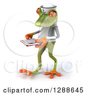 Clipart Of A 3d Green Springer Frog Sailor Walking To The Left And Reading A Book Royalty Free Illustration