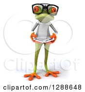 Clipart Of A 3d Bespectacled Green Springer Frog Sailor Reading A Book Royalty Free Illustration