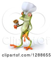 Clipart Of A 3d Green Springer Frog Chef Walking To The Left With French Fries Royalty Free Illustration