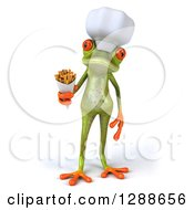 Clipart Of A 3d Green Springer Frog Chef With French Fries Royalty Free Illustration