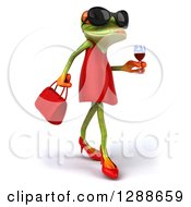 3d Green Female Springer Frog Wearing Sunglasses Walking To The Right And Holding A Glass Of Red Wine
