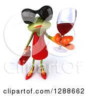 3d Green Female Springer Frog Wearing Sunglasses And Holding Up A Glass Of Red Wine