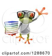Clipart Of A 3d Bespectacled Green Springer Frog Sailor Leaping And Holding A Stack Of Books Royalty Free Illustration
