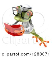 Clipart Of A 3d Bespectacled Green Springer Frog Sailor Facing Slightly Left Leaping And Reading A Book Royalty Free Illustration