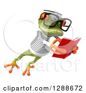 Clipart Of A 3d Bespectacled Green Springer Frog Sailor Facing Slightly Right Leaping And Reading A Book Royalty Free Illustration